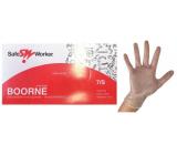 Safe Worker Boorne Rukavice vyšetrovacie, vinyl, nepúdrované, nesterilné, veľkosť S, box 100 kusov