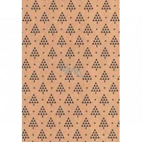 Ditipo Darčekový baliaci papier 70 x 200 cm Vianočný KRAFT čierne stromčeky a hviezdičky