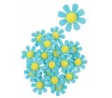 Kvety z filcu s Lepik modré dekorácie 3,5 cm v krabičke 18 kusov