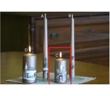 Lima Relief zimní svíčka metal světle hnědá válec 50 x 100 mm 1 kus