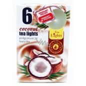 Tea Lights Coconut s kokosovou vôňou vonné čajové sviečky 6 kusov