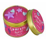 Bomb Cosmetics Trblietavé dievča - Sparkle, Girl! Vonná prírodné, ručne vyrobená sviečka v plechovej dóze horí až 35 hodín