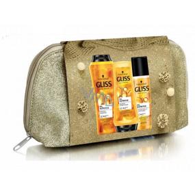 Gliss Kur Oil Nutritive šampón na vlasy 250 ml + balzam na vlasy 200 ml + expres balzam na vlasy 200 ml + kozmetická taška, kozmetická sada
