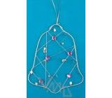 Zvonček Drôtená dekorácie strieborná s kamienkami na zavesenie 15 cm