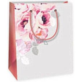 Ditipo Darčeková papierová taška 11,4 x 6,4 x 14,6 cm šedá ruže