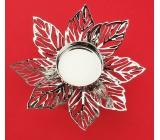 Kovový svietnik strieborný jemný kvet, 12cm, na čajovú sviečku 2950 4191
