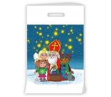 Igelitová taška s priehmatom Mikuláš, čert, anjel, dievčatko, hviezdičky 30 x 46 x 8 cm