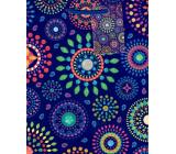 Ditipo Darčeková papierová taška stredná modrá farebné mandaly 18 x 23 x 10 cm