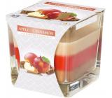 BISPOL Apple & Cinnamon - Jablko a škorica trojfarebná vonná sviečka sklo, doba horenia 32 hodín 170 g