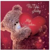 Me to You Blahoželania do obálky 3D Pre teba z lásky, Medvedík so srdcom 15,5 x 15,5 cm