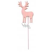 Jeleň drevený ružový zápich 8 cm + drôtik