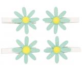 Kvetinky tyrkysové s glitrami na kolíčku 5 cm, 4 kusy v sáčku