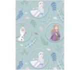 Ditipo Darčekový baliaci papier 70 x 200 cm Vianočný Disney Anna, Elsa a Olaf v kolieskach svetlo zelený