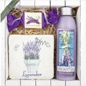 Bohemia Gifts & Cosmetics Lavender La Provence sprchový gél 200 ml + ručne vyrábané mydlo 30 g + dekoračné Kachlík s potlačou 10 x 10 cm, kozmetická sada