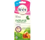 Veet Natural Inspirations voskové pásky na obličej 20 kusů + ubrousky Luminous Finish 4 kusy