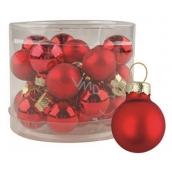 Sada skleněných baněk červených 2 cm, 12 ks