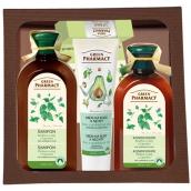 Green Pharmacy Žihľava a Olej z koreňov lopúcha šampón pre normálne vlasy 350 ml pre ženy + kondicionér na vlasy 300 ml + Aloe a avokádový olej hydratačný krém na ruky a nechty 100 ml + balzam na pery 3,6 g, kozmetická sada
