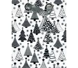 BSB Luxusný Vianočný darčeková papierová taška strednej biela, strieborné stromčeky 23 x 19 x 9 cm VDT 385-A5