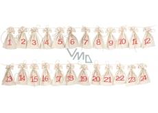 Adventný kalendár, ľanové vrecúška 8 x 13 cm 24 kusov