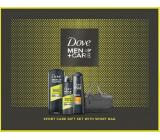 Dove Men + Care Sport sprchový gel pre mužov 400 ml + antiperspirant sprej 150 ml + šampón na vlasy 250 ml + kozmetická taška, kozmetická sada