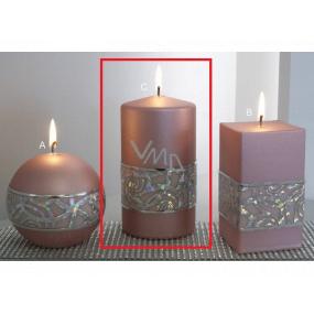 Lima Hologram sviečka ružová valec 80 x 150 mm 1 kus