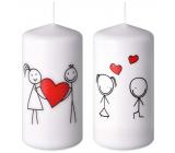 Emóciám Zamilovaný pár sviečka biela valec 60 x 120 mm 1 kus