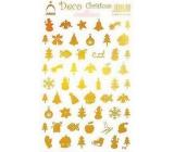 Arch Holografické dekoračné samolepky vianočné rôzne motívy zlaté