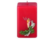 Candle Větvička vonná svíčka červená hranol 50 x 80 mm