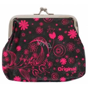 Albi Original Portmonka na klip Ružové kvety 12 x 9,5 x 1,5 cm