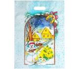 Igelitová taška mikulášska snehuliak, domčeky, stromček 46,5 x 35,5 cm