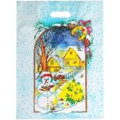 Taška igelitová Vianoce snehuliak, domčeky, stromček