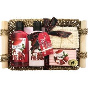Raphael Rosalee Cosmetics Granátové jablko sprchový gél 150 ml + telové mlieko 150 ml + tuhé mydlo 100 g + masážne uterák + košík, kozmetická sada
