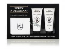 Percy Nobleman Čistiaci gél na tvár a fúzy 75 ml + Hydratačný krém na tvár a fúzy 75ml + Bavlnený uteráčik