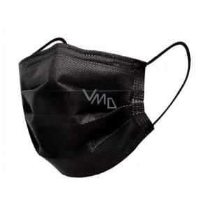 Rúška 3 vrstvová ochranná zdravotné netkaná jednorazová, nízky dýchací odpor 1 kus čierna