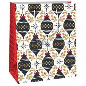 Ditipo Darčeková papierová taška 18 x 10 x 22,7 cm biela čierne ozdoby C