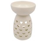 Aromalampa porcelánová biela so srdiečkami 14 cm