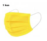 Shield Rúška 3 vrstvová ochranná zdravotné netkaná jednorazová, nízky dýchací odpor 1 kus žltá