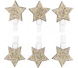 Hviezda drevená na kolíčku so zlatými kamienkami 3 cm 6 kusov