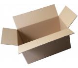 Krabica kartónová, trojvrstvová, chlopňová, dĺžka 60 cm, šírka 40 cm, výška 43 cm, použitá, veľmi pevná