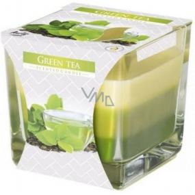 BISPOL Green Tea - Zelený čaj trojfarebná vonná sviečka sklo, doba horenia 32 hodín 170 g