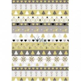 Ditipo Darčekový baliaci papier 70 x 200 cm Vianočný zlato-strieborný pruhy