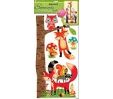 Samolepky na stenu strom s lesnými zvieratkami, líška a sova 70 x 33 cm 1 arch