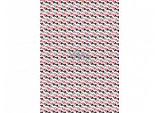 Ditipo Darčekový baliaci papier 70 x 100 cm Biely červenej, čiernej a šedej motýliky 2 archy