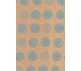 Ditipo Darčekový baliaci papier 70 x 200 cm KRAFT Modrá kolieska