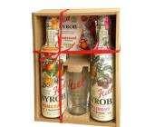 Kitl Syrob Bio Pomaranč s dužinou sirup 500 ml + Malina s dužinou sirup 500 ml + pohár 200 ml, darčekové balenie