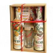 Kitl Syrob Bio Malina s dužinou sirup 500 ml + Pomaranč s dužinou sirup 500 ml + pohár 200 ml, darčekové balenie