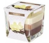 BISPOL Vanilla - Vanilka trojfarebná vonná sviečka sklo, doba horenia 32 hodín 170 g