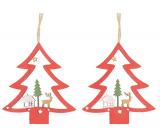 Strom drevený závesný červený 8 cm 2 kusy