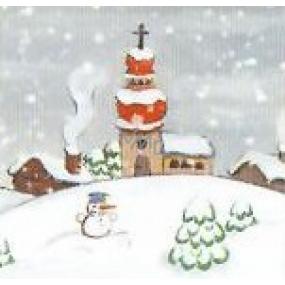 Nekupto Vianočné kartičky na darčeky Zasnežený kostol so snehuliakom 6,5 x 6,5 cm 6 kusov