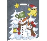 Igelitová taška mikulášska Snehuliaci 46 x 35 cm